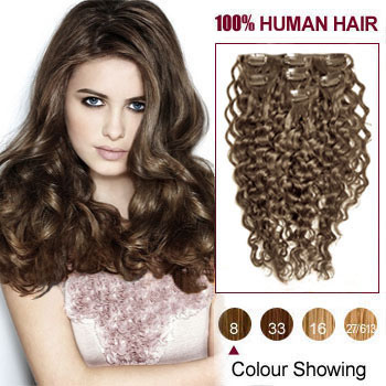 18 ash brown 8 7pcs curly clip in indian remy hair