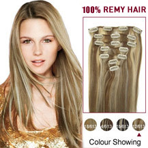 16 inches #12/613 7pcs Clip In Indian Remy Hair Extensions