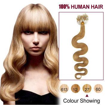 16 strawberry blonde 27 100s wavy micro loop human hair