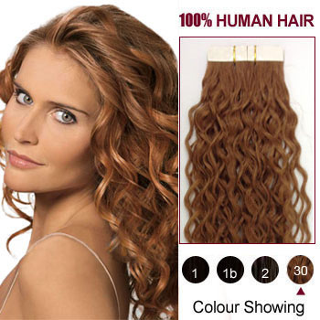 26 Inches Light Auburn 30 20pcs Curly Tape In Human Hair Extensions
