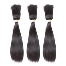 14 inches Weft 1B# Natural Black Braid In Bundles Straight 3PCS