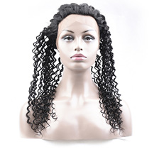 18 inches 360 Natural Black Curly Full lace Human closure wig