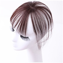 Medium Brown One Clip on Hairpiece with 3D fringe Hair Topper For Woman