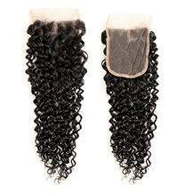 "16"" Lace Frontal Closure #1B Natural Black Human Hair Extensions Kinky Curly"