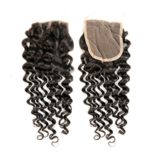 "16"" Lace Frontal Closure #1B Natural Black Human Hair Extensions Deep Wave"