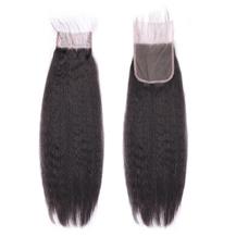"12"" Lace Frontal Closure #1B Natural Black Human Hair Extensions Kinky Straight"