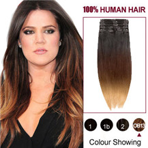 22 inches Three Colors #1b #27 And #30 Ombre Indian Remy Clip In Hair Extensions