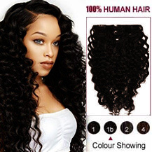 "26"" Natural Black (#1B) 7pcs Curly Clip In Indian Remy Hair Extensions"
