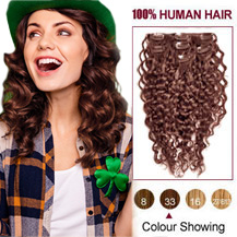 16 inches Dark Auburn #33 7pcs Curly Clip In Indian Remy Hair Extensions