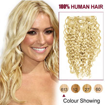 16 inches Bleach Blonde (#613) 7pcs Curly Clip In Brazilian Remy Hair Extensions