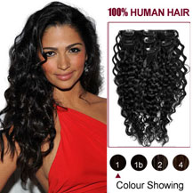 16 inches Jet Black (#1) 7pcs Curly Clip In Indian Remy Hair Extensions