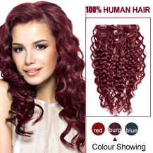 16 inches Bug 7pcs Curly Clip In Indian Remy Hair Extensions