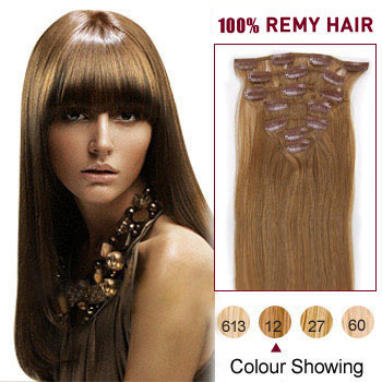 16 inches Golden Brown (#12) 7pcs Clip In Indian Remy Hair Extensions
