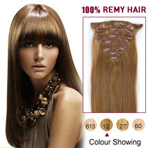 "22"" Golden Brown (#12) 7pcs Clip In Indian Remy Hair Extensions"