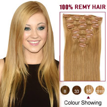 16 inches Golden Blonde (#16) 7pcs Clip In Brazilian Remy Hair Extensions