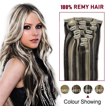 16 inches #1B/613 7pcs Clip In Indian Remy Hair Extensions