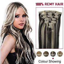 24 inches #1B/613 7pcs Clip In Indian Remy Hair Extensions