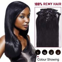 "22"" Jet Black (#1) 9PCS Straight Clip In Indian Remy Hair Extensions"