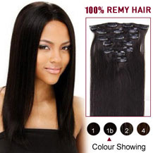 "16"" Natural Black (#1b) 7pcs Clip In Indian Remy Hair Extensions"