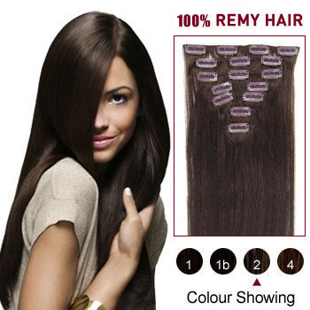 16 inches Dark Brown (#2) 9PCS Straight Clip In Brazilian Remy Hair Extensions