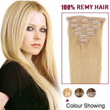 28 inches Ash Blonde (#24) 7pcs Clip In Indian Remy Hair Extensions