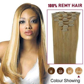 16 inches Blonde Highlight (#27/613) 7pcs Clip In Indian Remy Hair Extensions