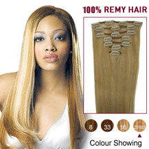 18 inches Blonde Highlight (#27/613) 7pcs Clip In Brazilian Remy Hair Extensions