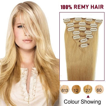 16 inches Strawberry Blonde (#27) 7pcs Clip In Indian Remy Hair Extensions