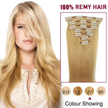 28 inches Strawberry Blonde (#27) 7pcs Clip In Indian Remy Hair Extensions