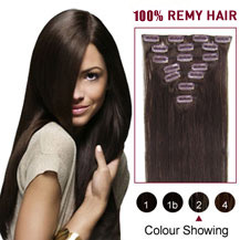 "16"" Dark Brown (#2) 9PCS Straight Clip In Brazilian Remy Hair Extensions"