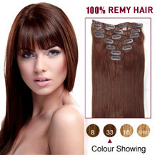 16 inches Dark Auburn (#33) 7pcs Clip In Brazilian Remy Hair Extensions