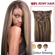 24 inches Brown/Blonde (#4_27) 7pcs Clip In Indian Remy Hair Extensions