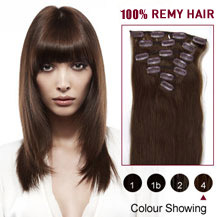"28"" Medium Brown (#4) 7pcs Clip In Indian Remy Hair Extensions"