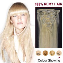 28 inches White Blonde (#60) 7pcs Clip In Indian Remy Hair Extensions