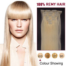 16 inches Bleach Blonde (#613) 7pcs Clip In Brazilian Remy Hair Extensions