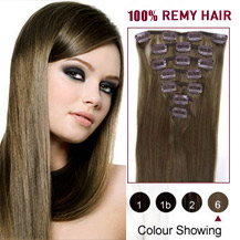 16 inches Light Brown (#6) 7pcs Clip In Brazilian Remy Hair Extensions