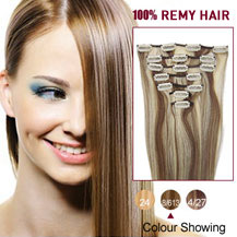 "16"" Brown/Blonde (#8/613) 7pcs Clip In Indian Remy Hair Extensions"