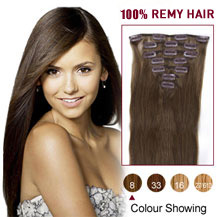 "24"" Ash Brown (#8) 7pcs Clip In Indian Remy Hair Extensions"