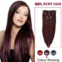 16 inches 99J 7pcs Straight Clip In Indian Remy Hair Extensions