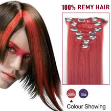 16 inches Pink 7pcs Clip In Indian Remy Hair Extensions