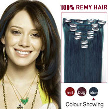 18 inches Blue 7pcs Clip In Indian Remy Hair Extensions