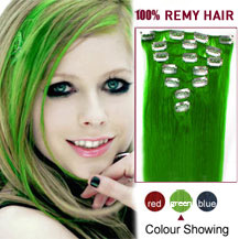 20 inches Green 7pcs Clip In Brazilian Remy Hair Extensions