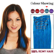 16 inches Blue 7pcs Straight Full Head Set Clip In Brazilian Remy Hair Extensions