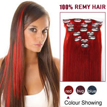 16 inches Red 7pcs Clip In Brazilian Remy Hair Extensions