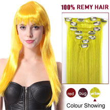 16 inches Yellow 7pcs Clip In Indian Remy Hair Extensions