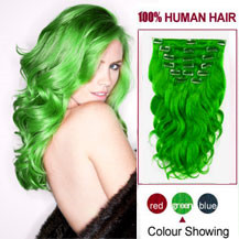 16 inches Green 7pcs Clip In Brazilian Remy Hair Extensions