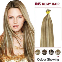 16 inches #12/613 Golden Brown Blonde Stick Tip Human Hair Extensions