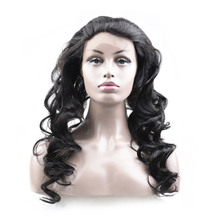 18 inches 360 Natural Black Loose Wave Full lace Human closure wig
