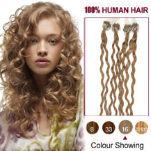 16 inches Golden Blonde (#16) 100S Curly Micro Loop Human Hair Extensions