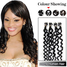 22 inches Natural Black (#1b) 100S Curly Micro Loop Human Hair Extensions